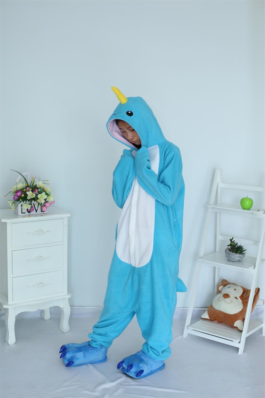 Cartoon Vuxen Unisex Djurdräkt Narwhal Onesie Whale Pajamas Fleece Sheep Pyjamas Djurkläder Cosplay Sleepwear