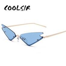 COOLSIR Small Cat Eye Sunglasses For Women Brand Designer Half Frame Red Mirror Eyewear Female Triangle Glasses Shades Men UV400