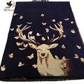 Mulheres Dupla-Face Borboleta de Sonho e Elk Cervos Impressão Cachecol de Caxemira e Pashmina Outono Inverno Quente Xaile Das Senhoras