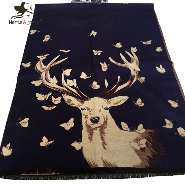 Women Double-Faced Dreamy Butterfly and Deer Print Cashmere Scarf and Pashmina Autumn Winter Warm Elk Ladies Shawl