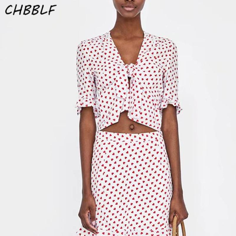 CHBBLF women V neck heart pint blouse sweet bow tie half sleeve ladies fashion summer casual chic tops blusas POP1267