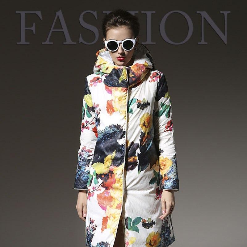 2019 New European Warm Hooded Down Parka Medium Long Thick Down Coat Fashion Print Floral Winter Jacket Women Hot Coat WUJ0315