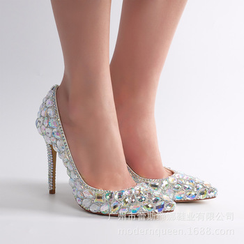 Women Pumps Sexy High Heels Shoes fashion spring Rhinestone 14CM Thin Heels Bling Wedding Shoes