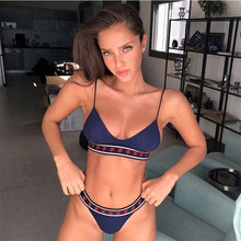 Купить с кэшбэком New bikinis 2019 Push up solid color Bathing Suit Women Sexy bikini elastic band low waist ladies swimsuit Beachwear Swimwear