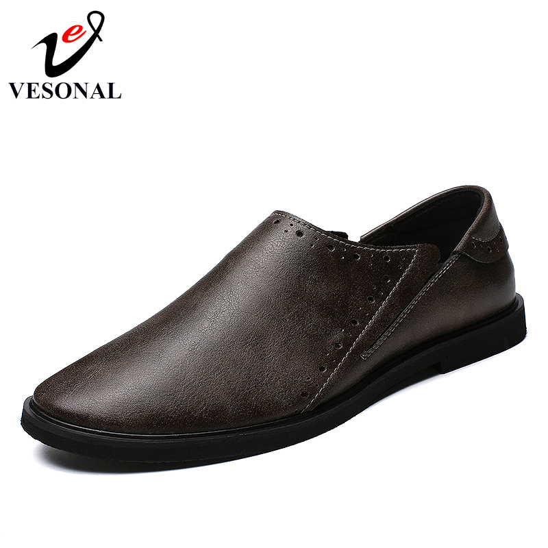Automne Mocassins D'affaires Chaussures Mode Hommes 2018 Pour Marque De Shoes Vintage Mâle Véritable Shoes Cuir Black 7239 Qualité Vesonal Adulte Casual En brown wfOqZYvv