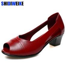 Sandalias de tacón medio cómodas de cuero genuino de verano para mujer, zapatos de mujer, Sandalias de tacón cuadrado con punta abierta, sandalias negras para mujer m843