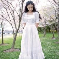 LYNETTE S CHINOISERIE Spring Autumn Original Design Women Vintage Royal Embroidery Slim White Cotton Princess Dresses