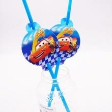 10pcs/set Straw  Lightning Mcqueen Car Kids Party Supplies Decoration Disposable Straws Boys Birthday