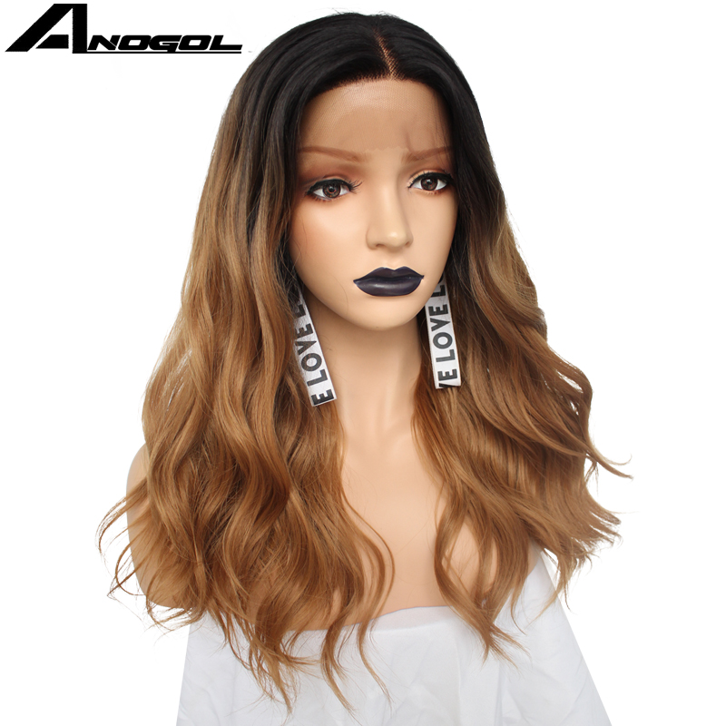 Anogol Futura Peruca 360 Frontal Wigs Black Ombre Brown Long Body Wave Synthetic Lace Front Wig