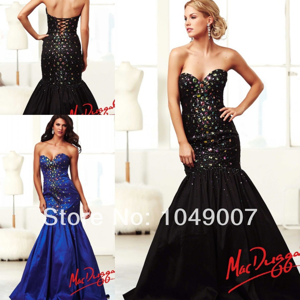 2014 sweetheart crystal mermaid corset prom dresses black