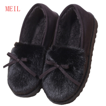 Bow Winter Slippers Women Flat Plush Home Shoes indoor Fur Slides Pantoffels Dames Warm