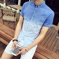 Градиент цвет Рубашки Модельер Рубашка 2016 Плюс 5XL Краткое рукав Синий Серый Пром Клуб Рубашка Сорочка Homme Тонкий Fit