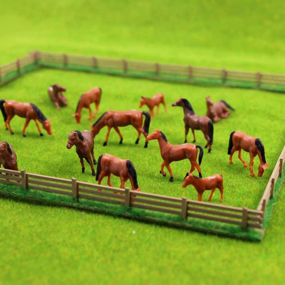 30 sztuk HO skala Model malowane zwierzęta gospodarskie koń pastwiska użytki zielone pejzaż z ogrodem piaskownica stołowa układ zabawki Diorama z tworzywa sztucznego