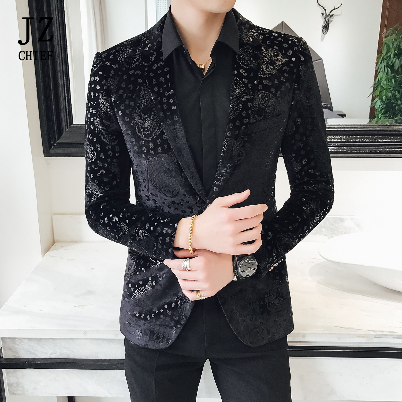 JZ CHIEF Black Velvet Blazer Men Luxury Suit Jacket Slim Fit Business Design Blazer Coat Jacquard Tiger Pattern Center Back Vent