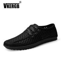 VKERGB Men Shoes Summer Fashion Breathable Mesh Men Casual Shoes New Mens Shoes Flats For Lace Up Zapatillas Hombre Plus Size 46