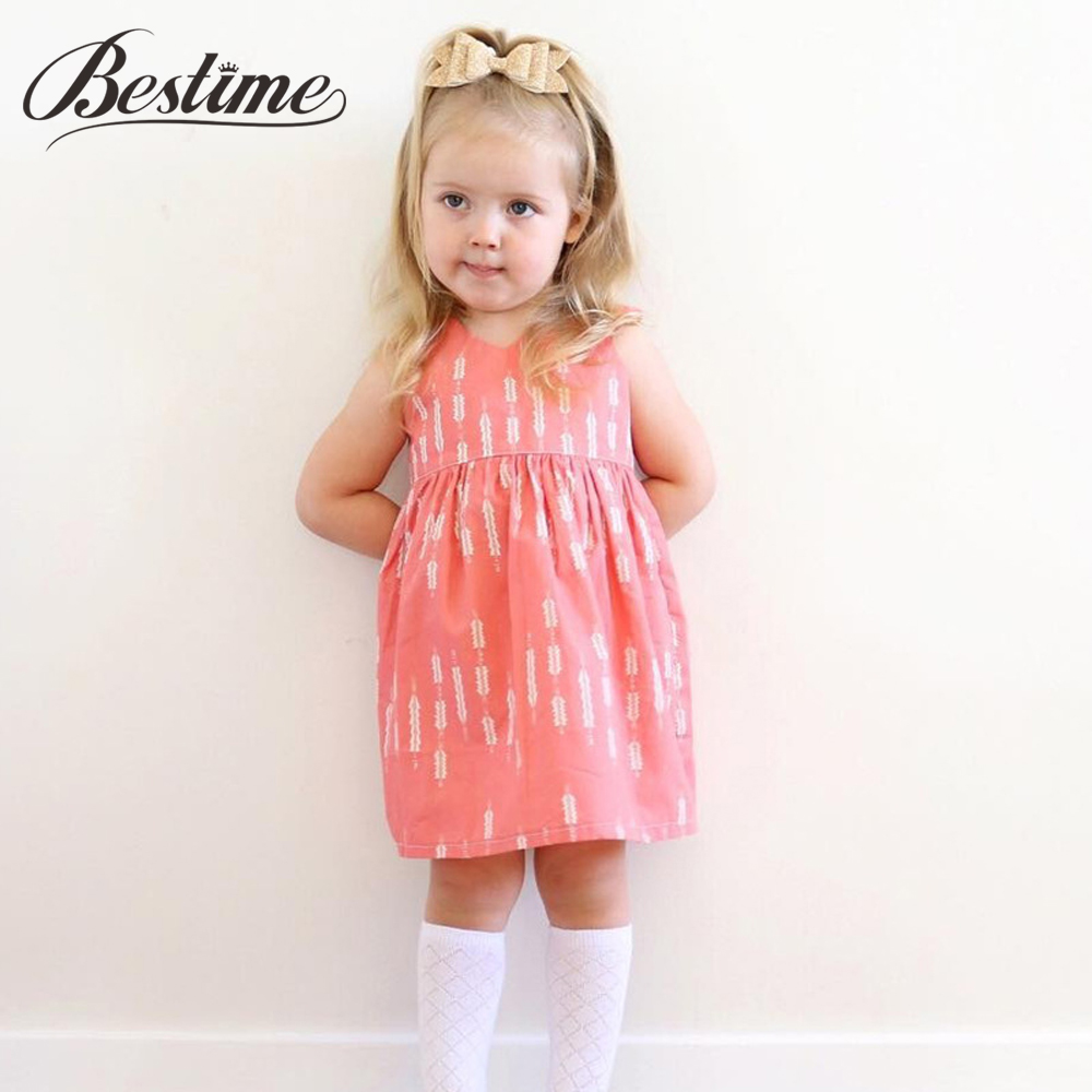 Toddler Dresses Girls Clothes Backless Printed Sleeveless Summer European Arrows Pink