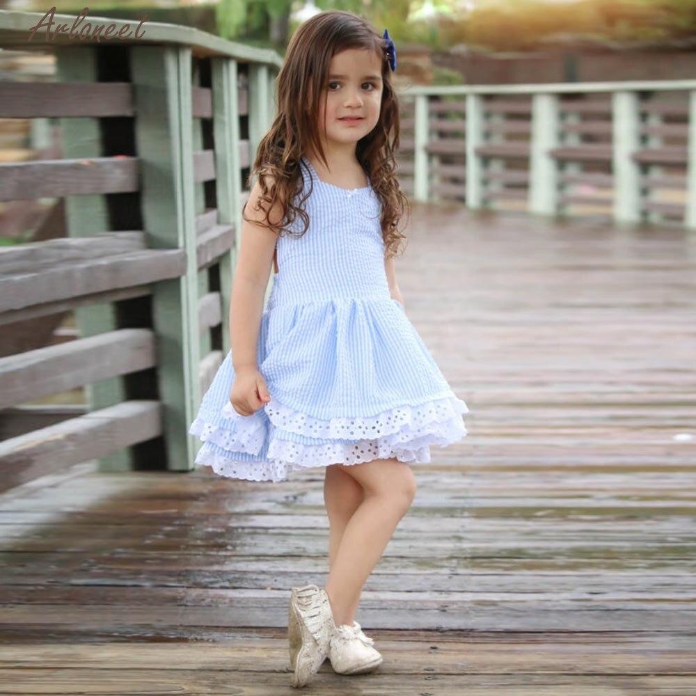 TELOTUNY платье для девочек Хлопковое Повседневное Летняя детская одежда, одежда для маленьких девочек в полоску кружевное праздничное платье ...