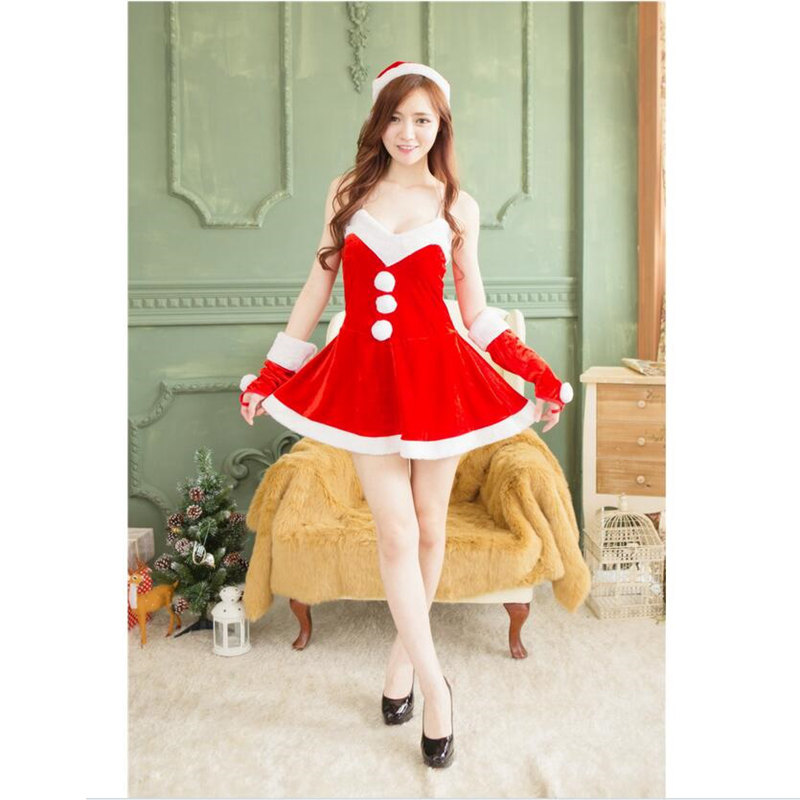 Santa Claus Costumes Cosplay For Woman Christmas Party Beautiful Girl Costumes Different Size Red Jumpsuits With Christmas Hat