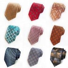 20 Colors Classic Silk Tie for Man Jacquard 8 Cm Paisley Floral Gird Dot Formal Dress Wedding Party Necktie