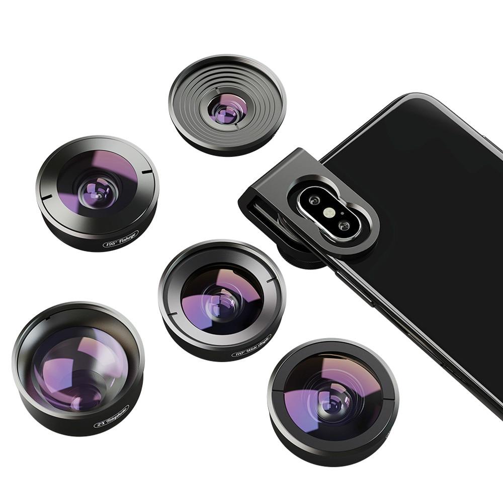 5 в 1 объектив для камеры телефона Комплект HD 4K широкоугольный телескоп Супер Рыбий глаз Макро телефон линзы для samsung Xiaomi huawei объектив