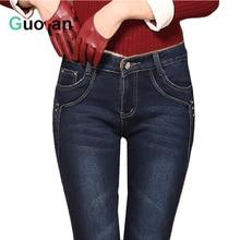 {Guoran}quality 2016 winter women jeans pants plus size 26-34 thick warm fleece ladies skinny trousers leggings female pantalon