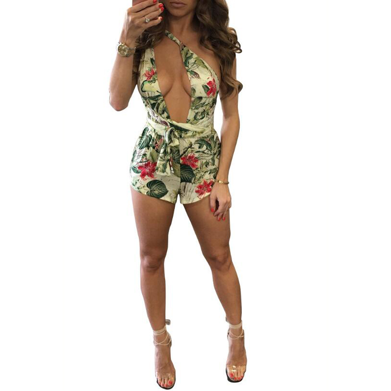 Sexy Backless Beach Women Playsuit Summer Night Club Skinny Jumpsuits For Women New Fashion Flora Print Female Playsuit