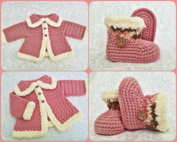 Del bambino del crochet maglione, bootieDel bambino del crochet maglione, bootie
