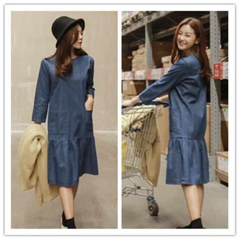 קוריאני נשים דנים שמלה קיצית מורי ילדה אביב ארוך רופף קפלי שמלה מזדמן Vestido ג 'ינס Vestido ג' ינס שמלה בתוספת גודל QC68