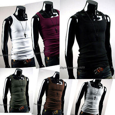 BNWT 2017 NEW Undershirt Cotton Men T-shirt A-Shirt Wife Beater Ribbed Muscle Vest Top US-X7