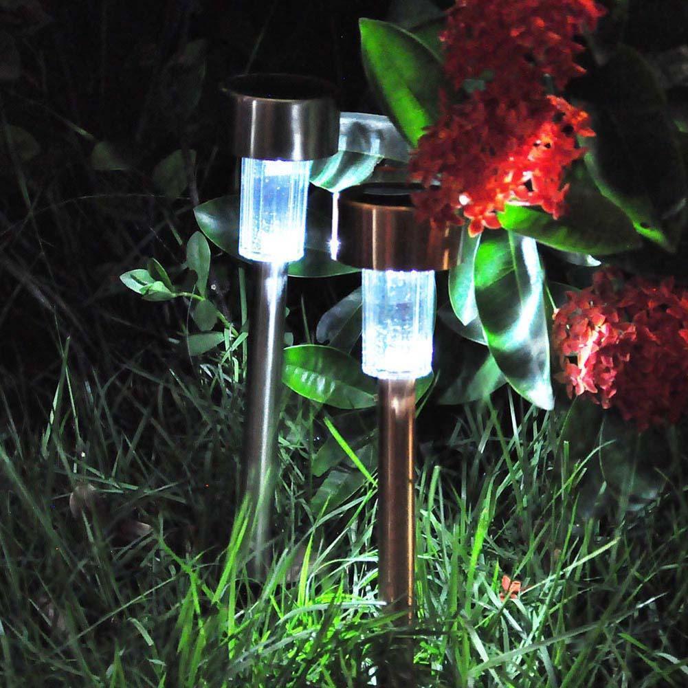 Solar Power LED Spike Spot Light Garden Outdoor Stainless Steel Landscape Path Lawn Light Yard Lamp Outside Lights Lanterns