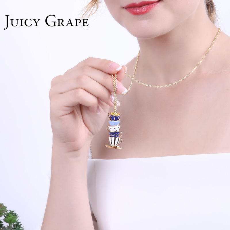 Image 5 - Juicy Grape Hand Painted Enamel Necklace Jewelry Teacup Pendant Long Chain Choker Necklace Bijoux Femme Bijuteria Women-in Pendant Necklaces from Jewelry & Accessories
