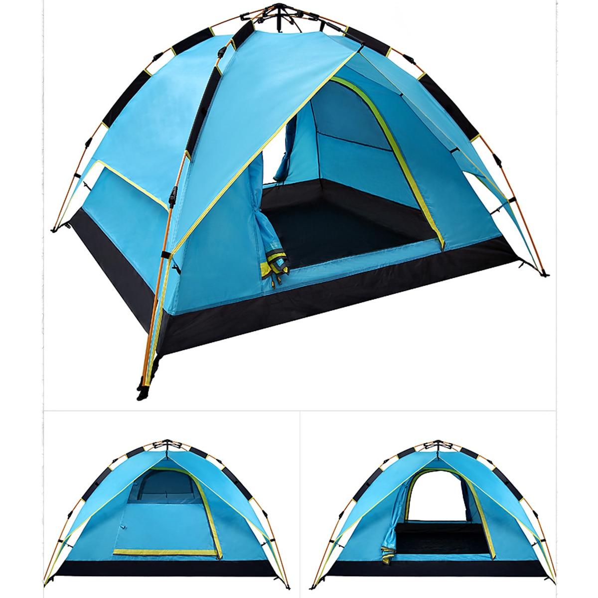 3/4 personne Automatique Tente Plage Tente Deux-couche Double Tente Tente De Loisirs 200*200*135 cm 190 t Polyester PU Vert/Bleu