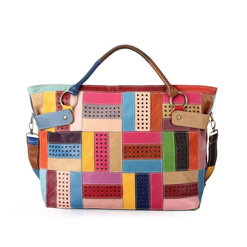 все цены на 2017 Genuine Leather Designer Top-Handle Handbags Colorful Patchwork Cowhide Women Tote Shoulder Bag Lady Messenger Bags ZY01