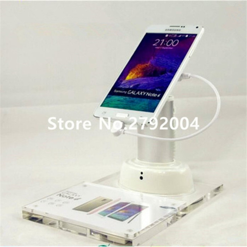 5 set/lot transparent acrylic price tag base white cylinder remote control rechargeable alarms cellphone security display holder