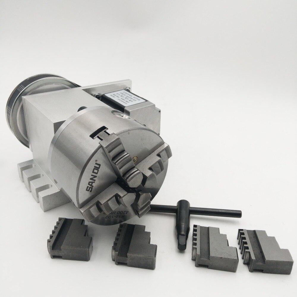 K12 4 Mandíbula Mandril CNC quarto Eixo Rotativo 100mm Um eixo 6:1 Eixo Oco para CNC Router Novo Garantia de 1 Ano