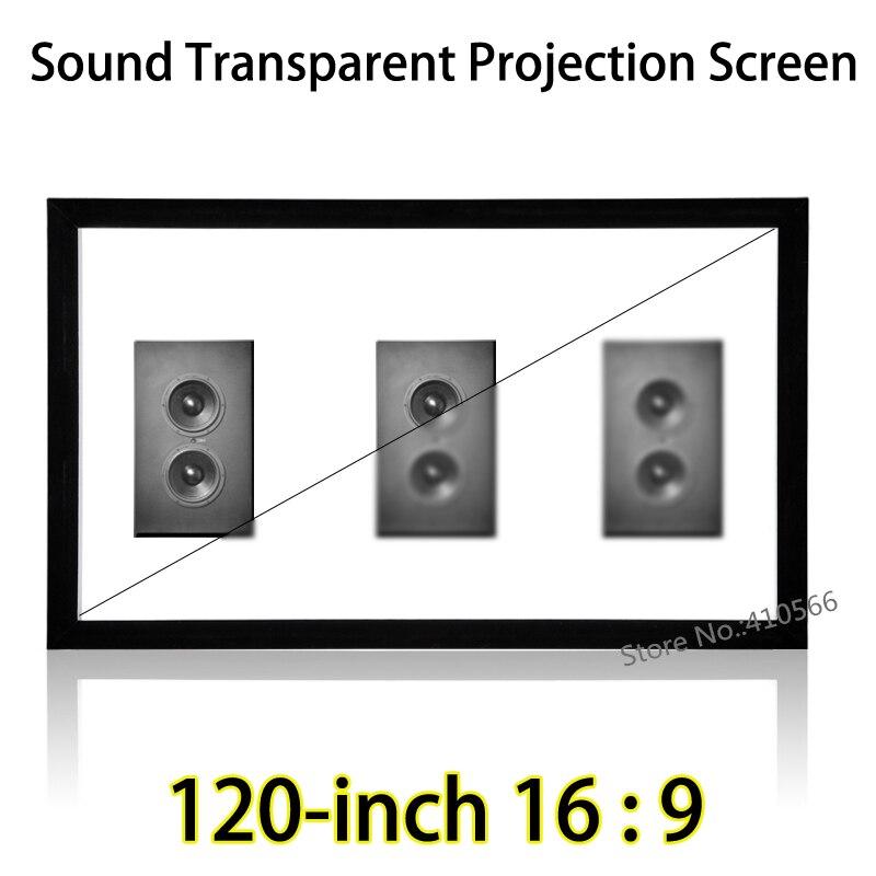 120 pollici 16:9 Tessuto Suono Trasparente Superficie Piana di Sostegno Dello Schermo di Proiezione L'immissione Speaker Dietro