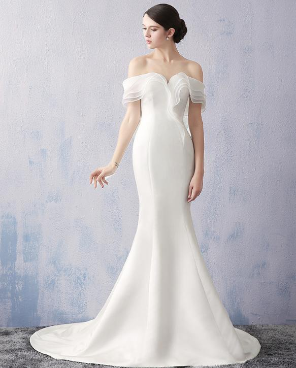 VENSANAC 2018 Pleat Boat Neck Satin Sweep Train Mermaid Wedding Dresses Off The Shoulder Backless Bridal Gowns