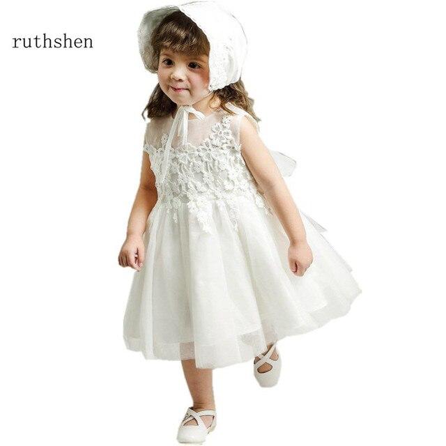 Ruthshen Vestido Comunion Pouco Vestido Da Menina Flor Apliques vestido de Baile Crianças Pageant Comunhão Santamente Vestidos Tea Comprimento Branco Vermelho