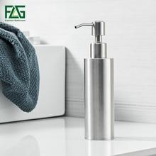 FLG Liquid Soap Dispenser Modern Kitchen 200ML Stainless Steel Round Base Bathroom Accessories Brushed Nickel Mirror Hand Bottle