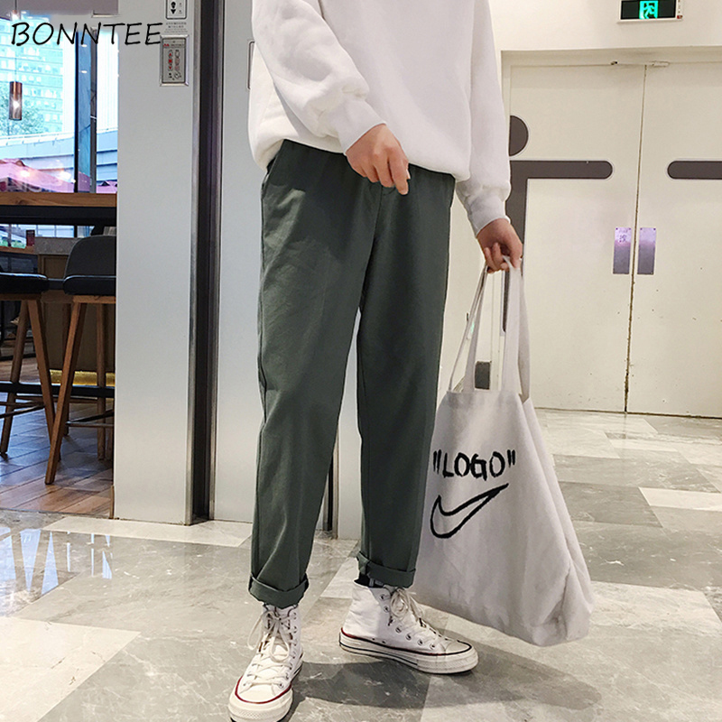 Pants Amiable Pants Men Large Size Solid Simple All-match Korean Style Leisure Daily High Quality Drawstring Cargo Pant Mens Ulzzang Trousers Pure And Mild Flavor