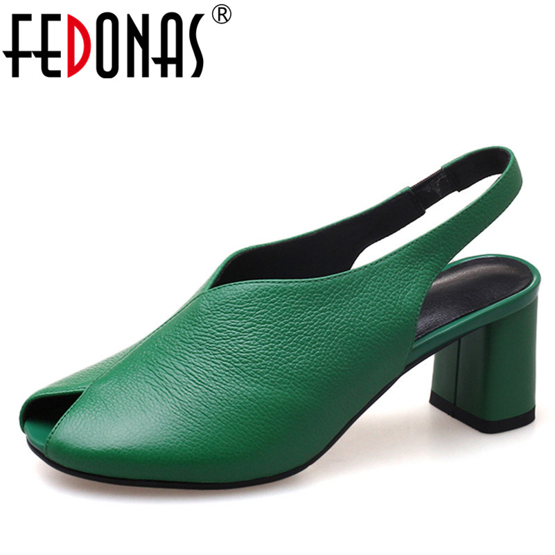 FEDONAS Women Sandals Heel Summer Open Toe Genuine Leather Shoes Woman Sandalias Ladies Gladiator Retro Pumps