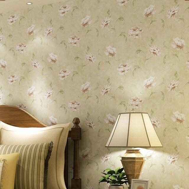Free Shipping Light Green Hook Gold Edge Paper Wallpaper American Village Pastoral Flower Bedroom Restaurant