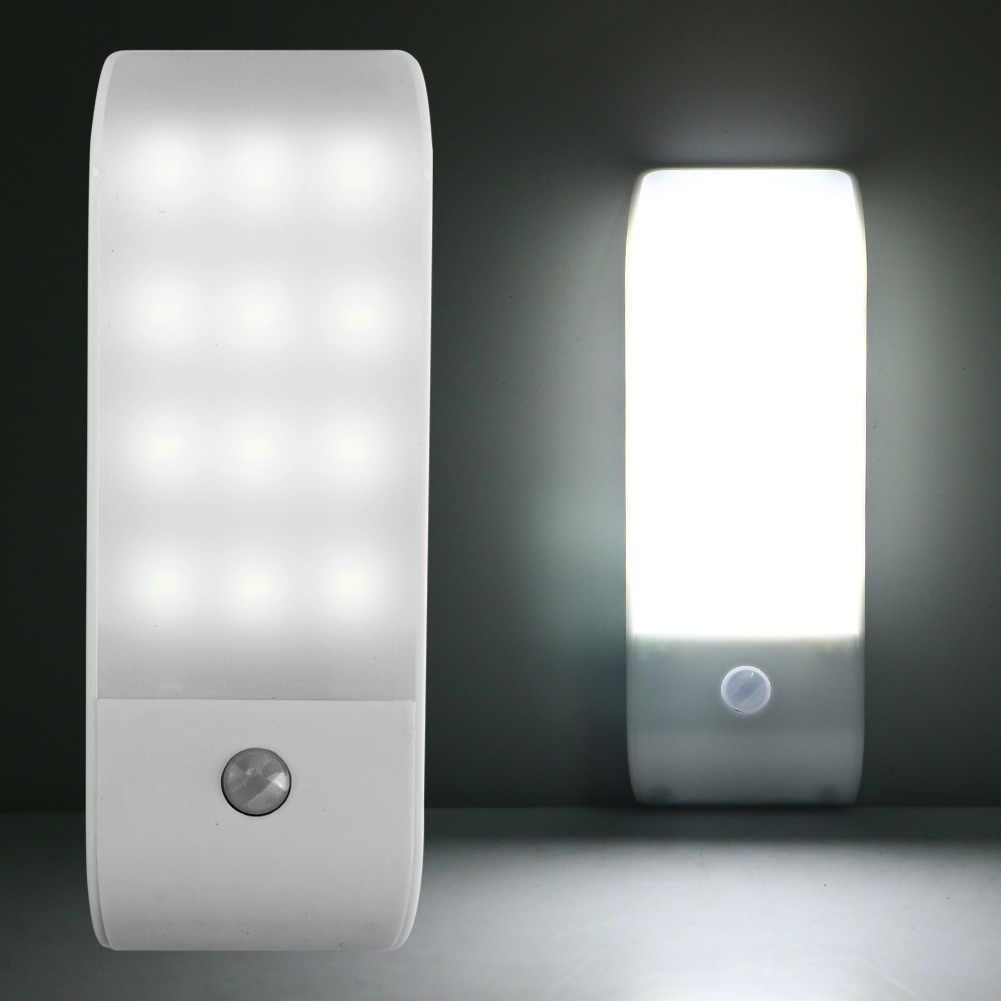 1 шт. Горячая 12 LED пресс/автоматический сенсорный выключатель USB Перезаряжаемый PIR датчик индукции движения ночник для шкафа лампа желтый/белый свет