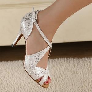 Image 2 - DILEECHI brand Womens White Satin Leopard Latin dance shoes wholesale Spot Salsa Party Square dance shoes High heels 8.5cm