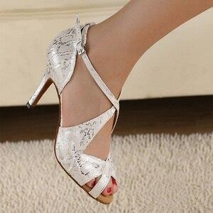 Image 2 - DILEECHI thương hiệu của Phụ Nữ Trắng Satin Leopard Latin giày khiêu vũ bán buôn Tại Chỗ Salsa Đảng Quảng Trường giày khiêu vũ Cao gót 8.5 cm