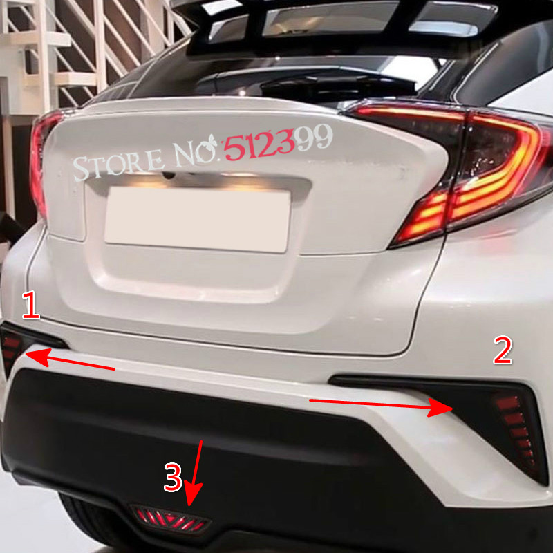 For Toyota C-hr 2016 2017 Car Rear Stop Brake & Tail Fog Lamp Daytime Running Light 3pcs/ Set Car Styling Accessories At All Costs Roof Racks & Boxes