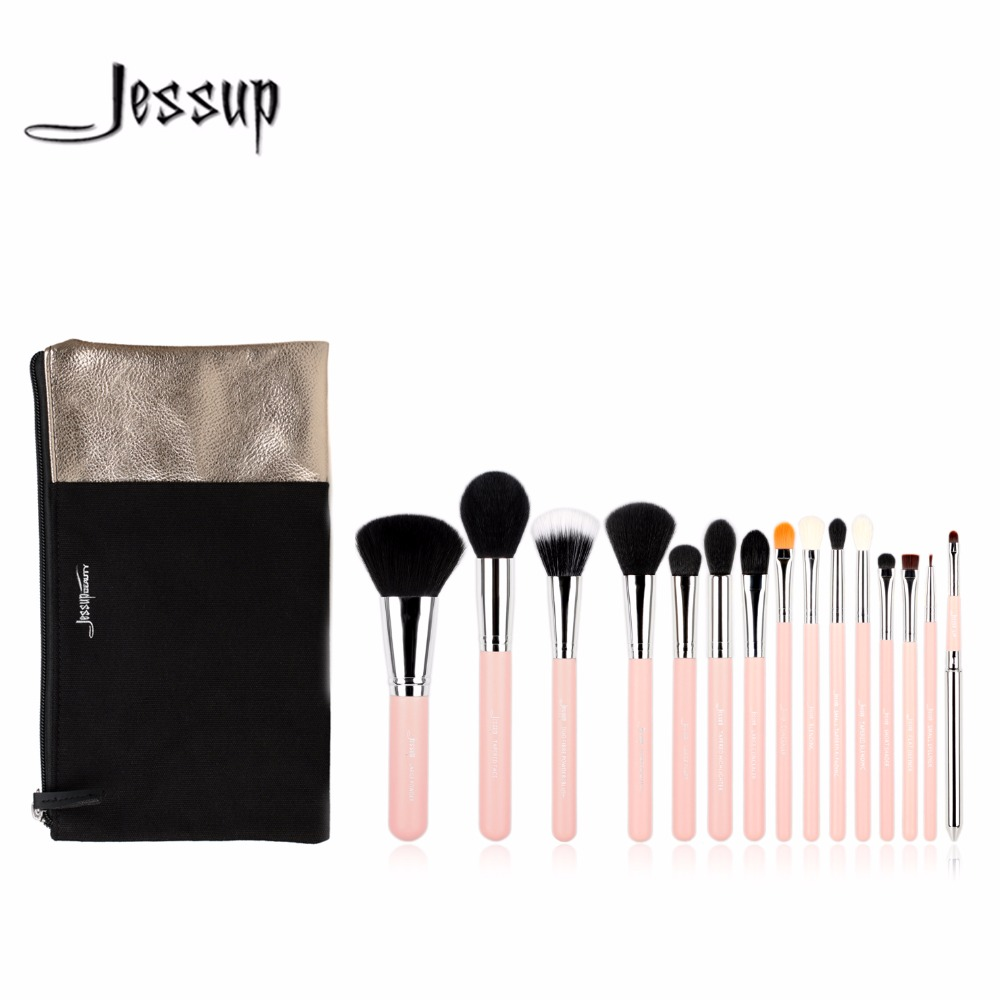 Jessup brushes 15pcs Beauty Makeup Brushes Set Brush Tool Pink and Silver Cosmetics Bags T094&CB002 tissot t094 210 11 121 00