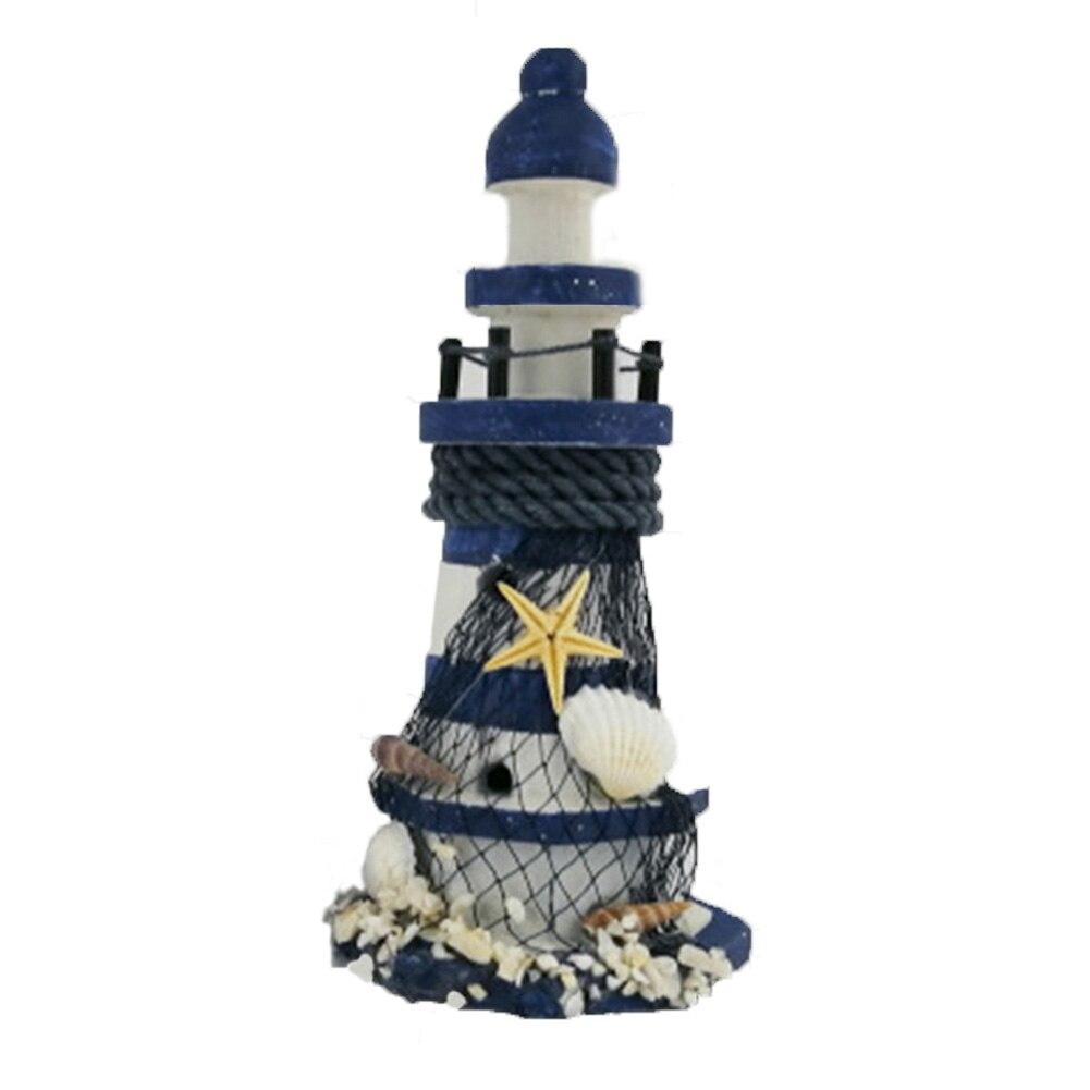 Home-Ornament Shell Light-Tower Decoration Craft Nautical Bedroom Desktop Wooden Handmade