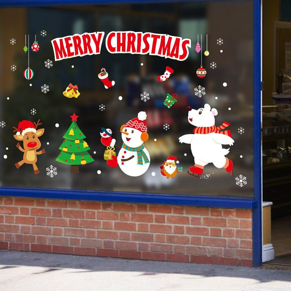 DIY Christmas Wall Stickers Plane Window Festival Decals ...