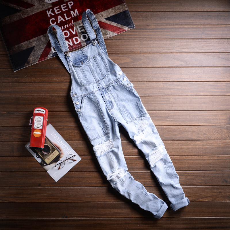 Summer Mens skinny jean overalls Male Ripped denim jumpsuits Hip hop Suspenders Distrressed trousers Casual bib jeans A50302